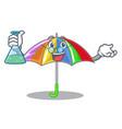 professor rainbow umbrella isolated on a mascot vector image