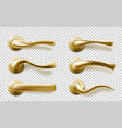 realistic door handles set golden isolated knobs vector image