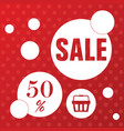 sale icon with basket in red color vector image vector image