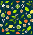 seamless citrus pattern with yellow lemons bitter vector image