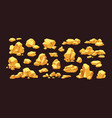 set isolated gold mine nuggets and rocks piles vector image