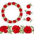 set of red roses design elements and objects vector image