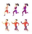 Set running sport young people of different vector image