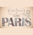 vintage postcard with words i love paris vector image