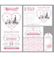 Wedding invitation setBridegroomretro bikePink vector image vector image