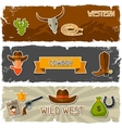 Wild west banners with cowboy objects and stickers vector image vector image