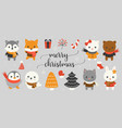 xmas character and elements vector image vector image