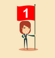 happy businesswoman with number one flag vector image