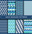 Set of blue and white sea wave seamless patterns vector image