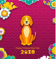 2018 chinese new year banner earthen dog paper vector image vector image