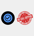 approve seal icon and distress iso 22001 vector image vector image