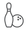 bowling line icon game and sport bowling pins vector image vector image