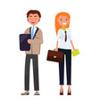 business partners stylish man woman in formal wear vector image vector image