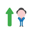 businessman character with arrow moving up vector image