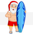 cartoon santa claus holding a surfboard and giving vector image