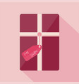 christmas present on a pink background with happy vector image vector image