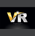 combination letter vr v r alphabet with gold vector image vector image