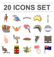 country australia cartoon icons in set collection vector image vector image