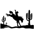 cowboy driving wild horse black silhouette vector image