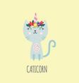 cute caticorn - cat with unicorn horn on head vector image
