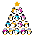cute penguins creating christmas tree vector image vector image