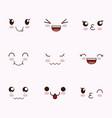 cute set of faces kawaii vector image