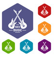 electric guitar icons hexahedron vector image vector image