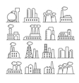 Factory and plant thin line icons