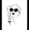 fashion monochrome design sketch woman in style vector image vector image
