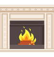 fireplace closeup burning logs inside of stove vector image vector image