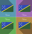 Flags Solomon Islands Set of colors flat design vector image