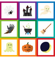 flat icon festival set of zombie crescent magic vector image vector image