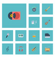 flat icons acoustic octave keyboard retro disc vector image vector image