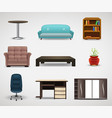 furniture icons set of interior elements vector image vector image