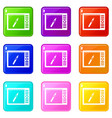 graphics tablet icons 9 set vector image vector image