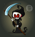 grim reaper cartoon character with scythe vector image vector image