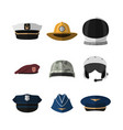 hats and helmets icon of cap in flat style vector image vector image