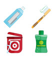 hygiene products for teeth in a flat style vector image vector image