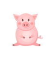 little pink pig character the year of the pig vector image vector image