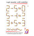 logic puzzle game with matches find place for all vector image vector image