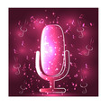 neon light glowing music with microphone symbol vector image vector image
