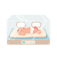 newborn infant lies inside neonatal intensive care vector image vector image