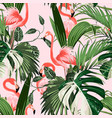 pink flamingo and exotic palm leaves vector image vector image
