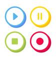 play pause stop rec 3d button different colors