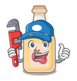 plumber bottle apple cider above cartoon table vector image vector image
