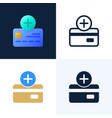 plus button and credit card stock icon set vector image vector image