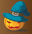 Pumpkins Halloween Character Magic Wizards vector image