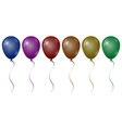 realistic glossy helium balloons with a ribbon on vector image