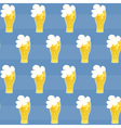 Seamless pattern beer glass on a blue vector image vector image