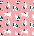 seamless pattern with cute kittens creative vector image vector image